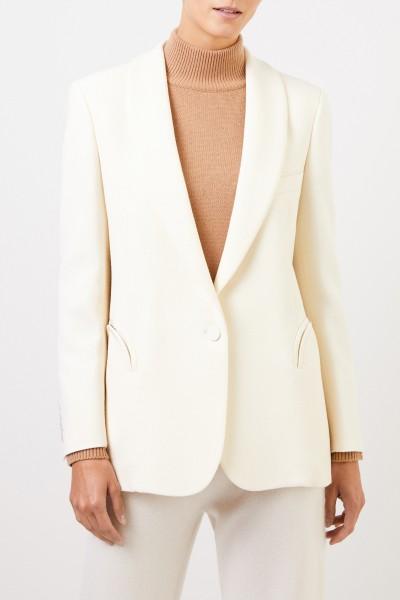 Blazé Milano Wool silk blazer 'Essential Resolute' with belt Cream