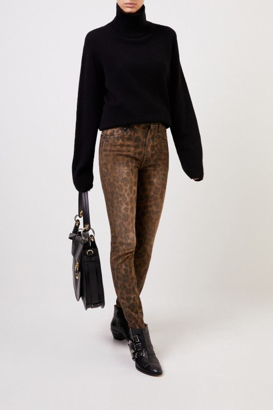 R13 Skinny Jeans 'High Rise Skinny' Leopard