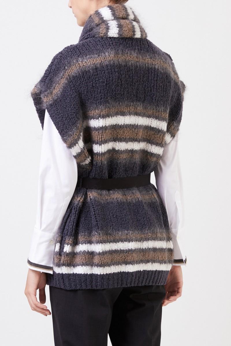 Brunello Cucinelli Kurzarm Woll-Cardigan mit Gürtel Grau/Multi