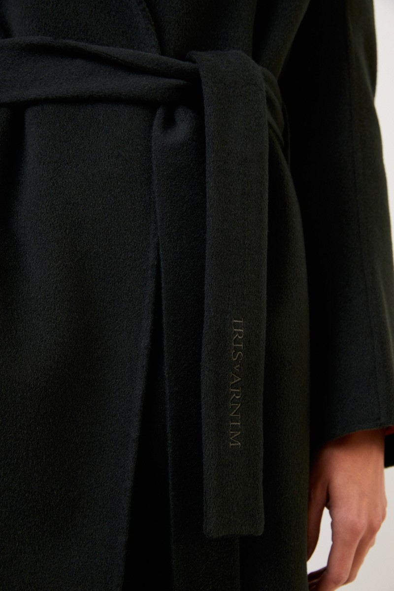 Cashmere-Mantel 'Bruna' mit Gürtel Khaki