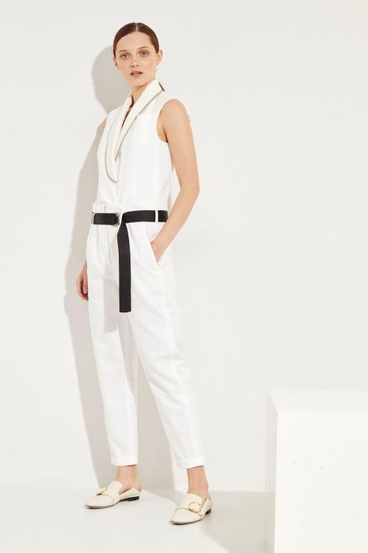 Baumwoll-Leinen-Jumpsuit mit Paillettendetails Weiß