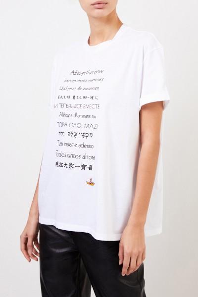 Stella McCartney T-Shirt mit frontaler Applikation Weiß