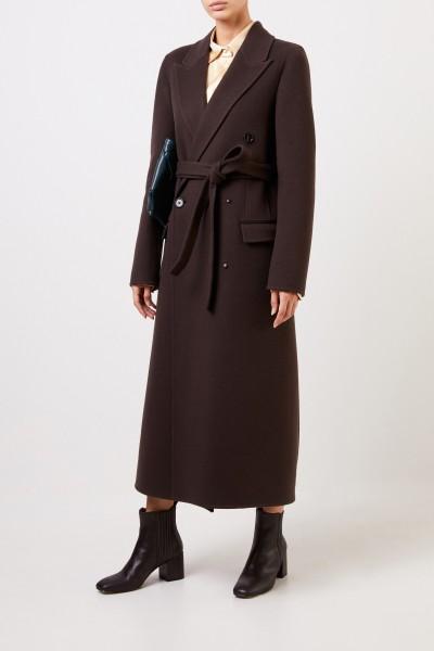 Langer Woll-Mantel mit Gürtel Dunkelbraun