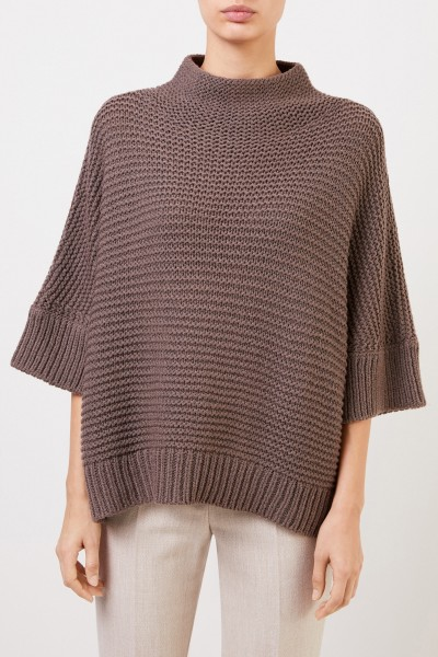 Fabiana Filippi Wool pullover with stand-up collar brown