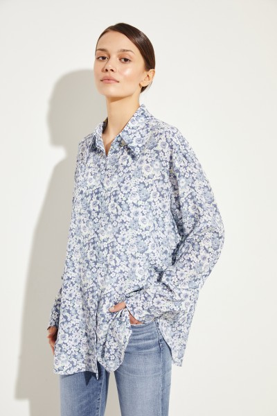 Seiden-Bluse mit floralem Print Blau