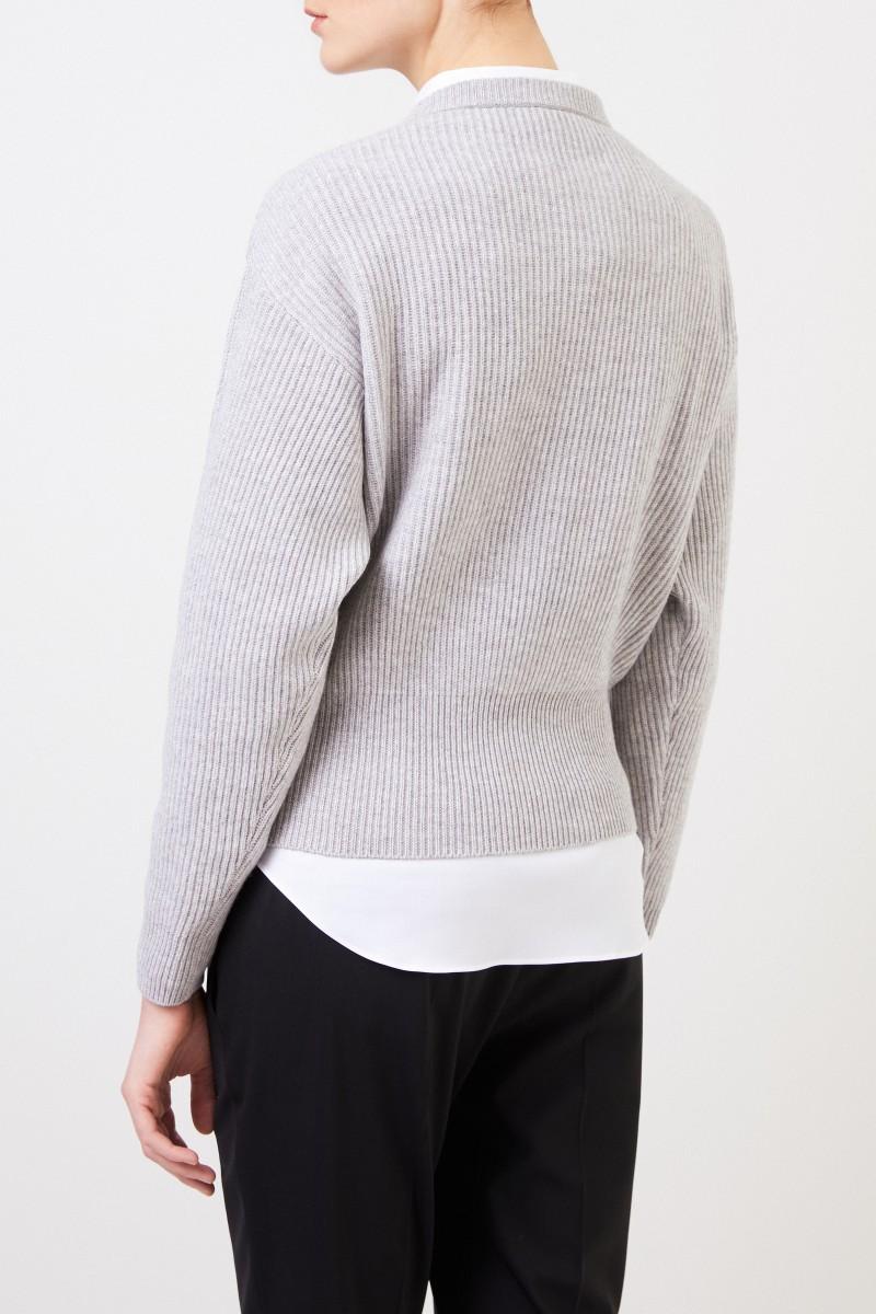 Brunello Cucinelli Gerippter Cashmere Pullover Grau