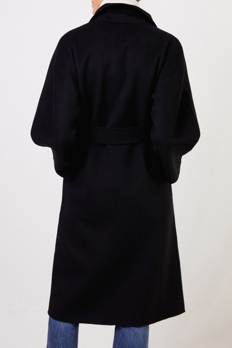 Uzwei Doubleface cashmere coat with belt Black