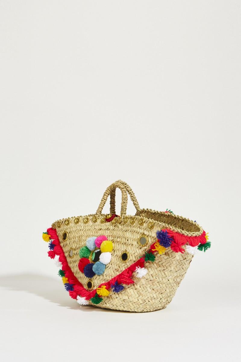 Korb-Tasche mit Pompoms Multi