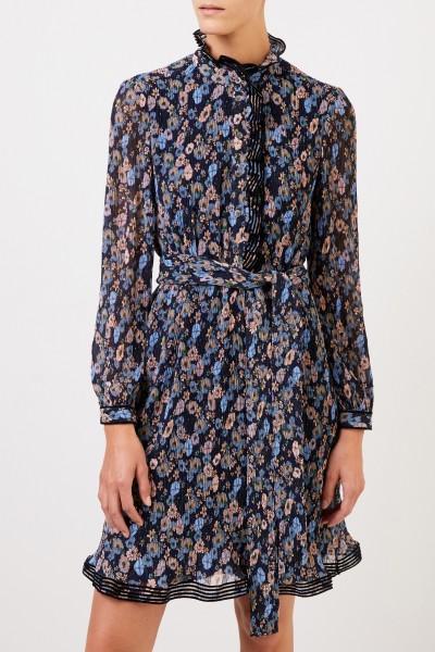 Tory Burch Plissee-Kleid mit floralem Print Blau/Multi
