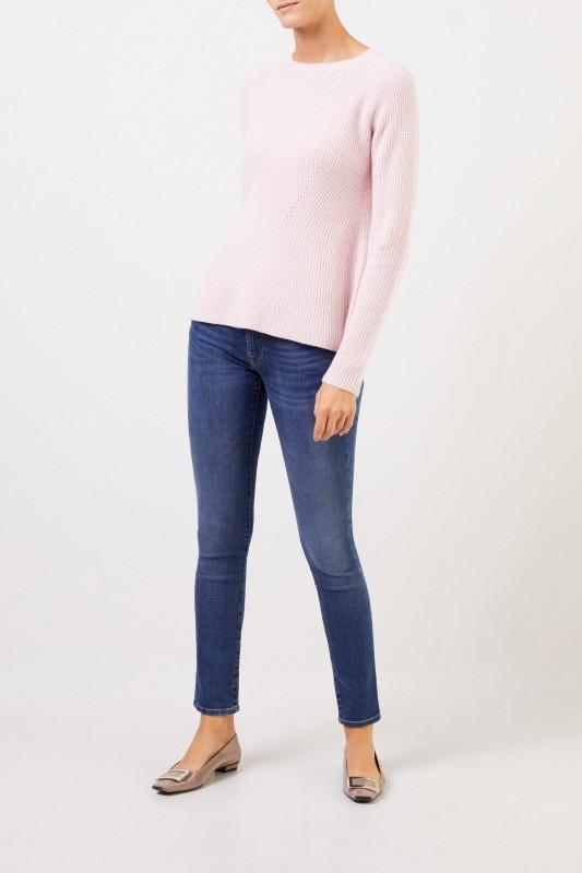 Cashmere-Pullover mit Strickdetail Rosé