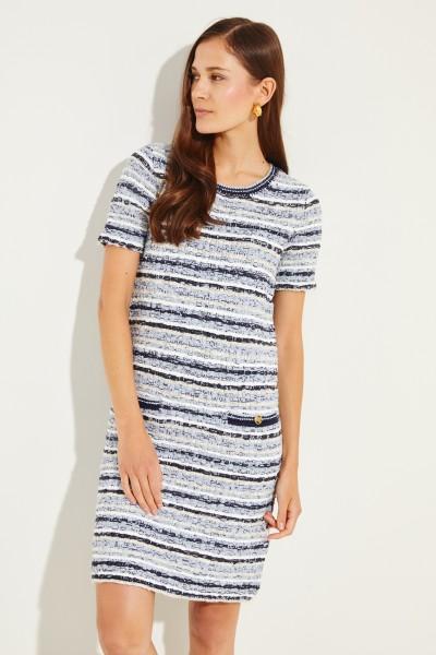 Tweed-Kleid mit Taschen Blau/Multi