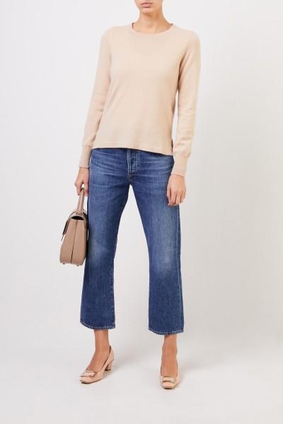 Cashmere-Pullover mit Schlitzen Camel