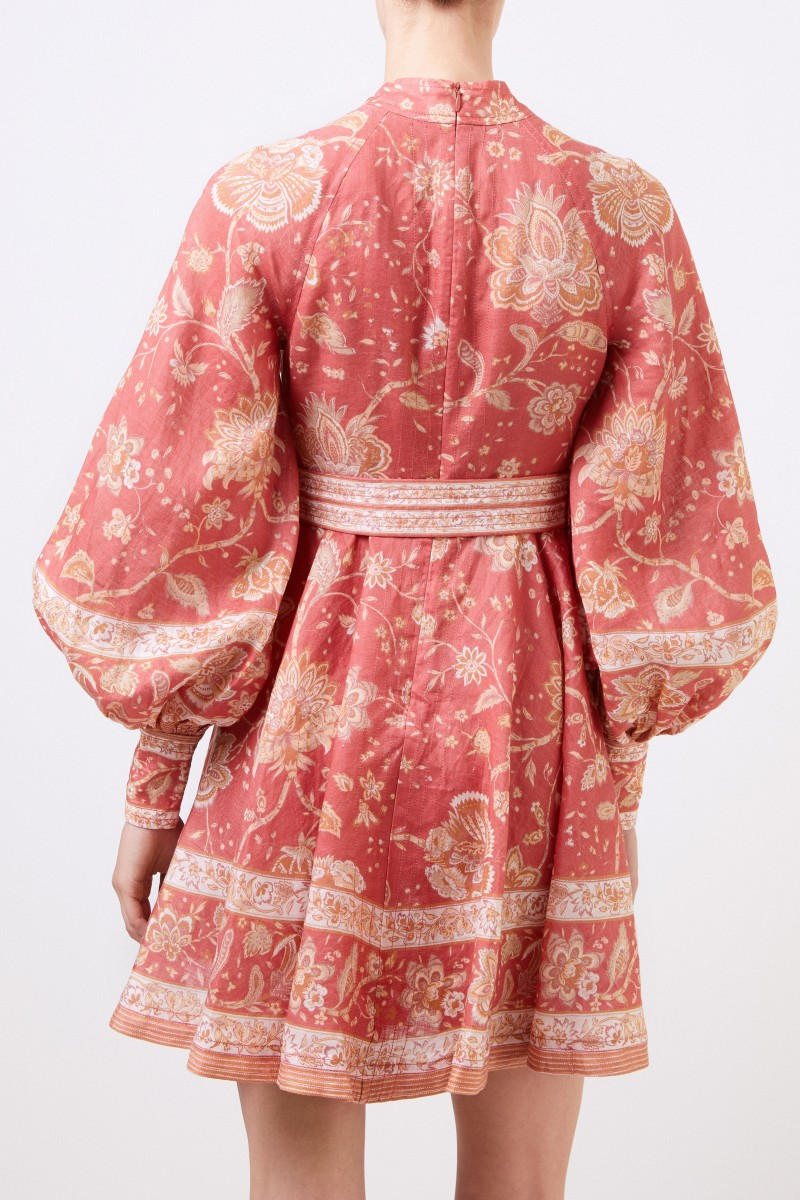 Zimmermann Kurzes Leinen-Kleid 'Veneto' mit Print Koralle