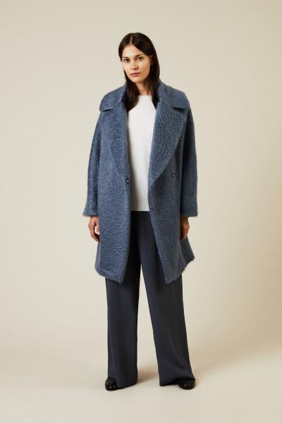Oversize Woll-Mantel Blau