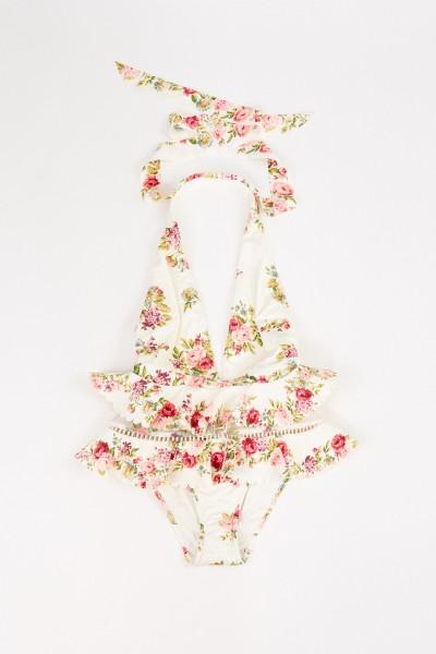 Badeanzug 'Honour' mit floralem Print Crème/Multi