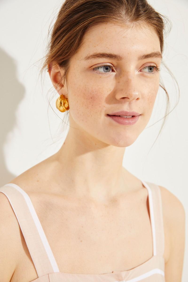 Gestreiftes Leinen-Kleid 'Boca' Rosé/Weiß