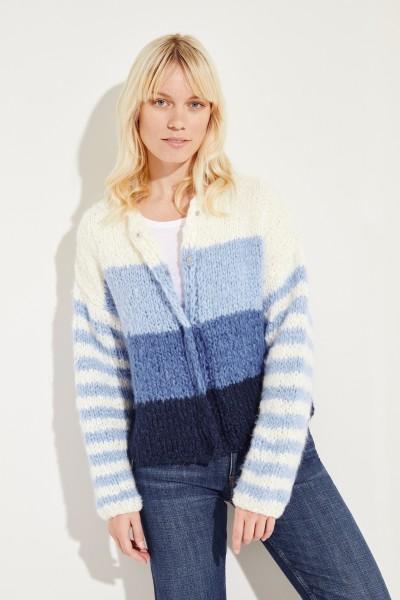 Seiden-Leinen-Cardigan 'Steff' Weiß/Blau