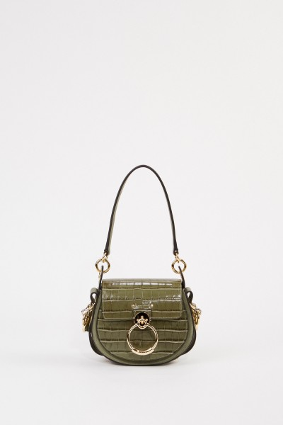 Chloé Shoulder Bag 'Tess Croco Small' Misty Forest