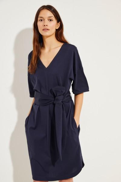 Baumwoll-Kleid mit Perlen-Details Marineblau