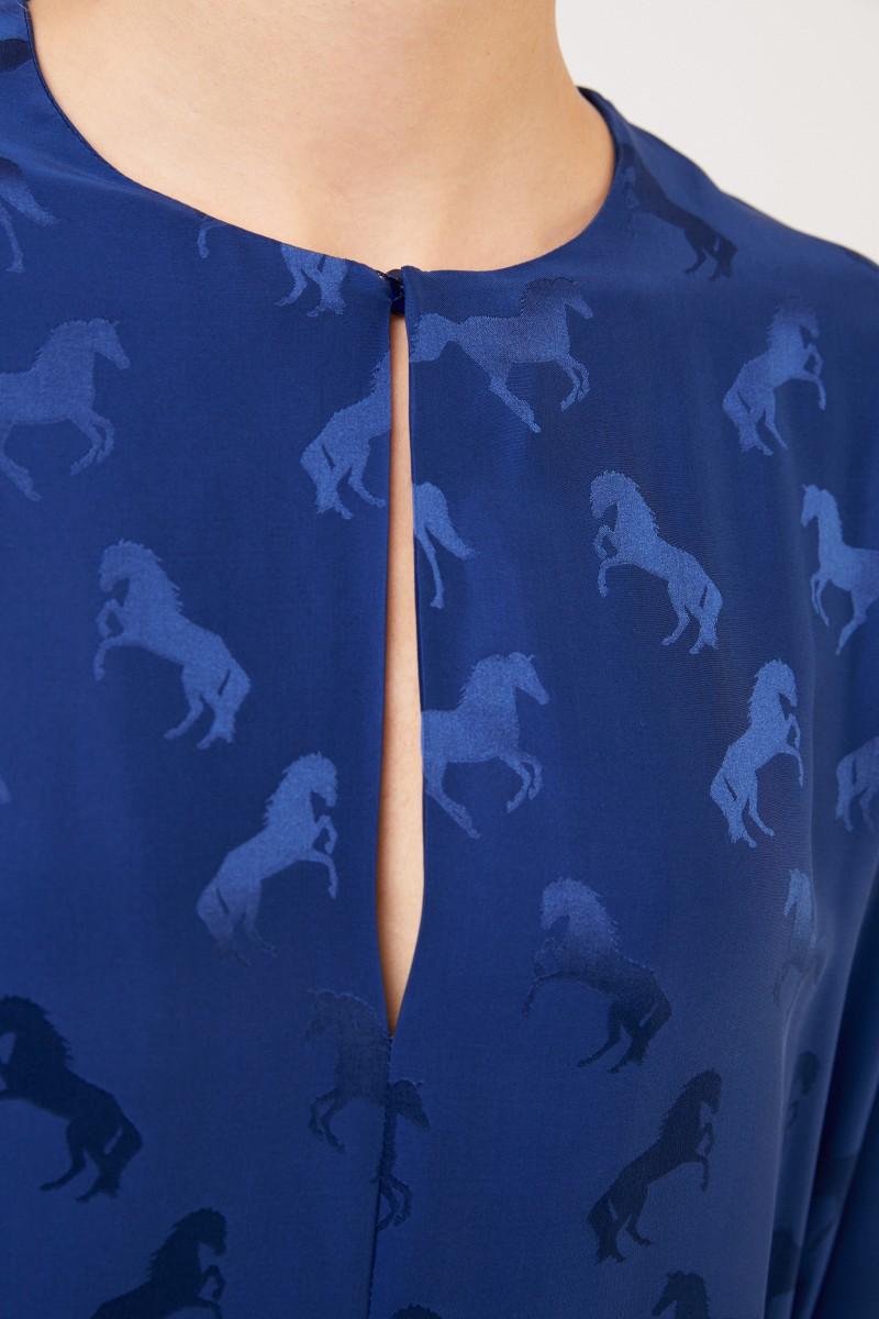 Stella McCartney Seidenbluse mit Pferdeprint Blue Note
