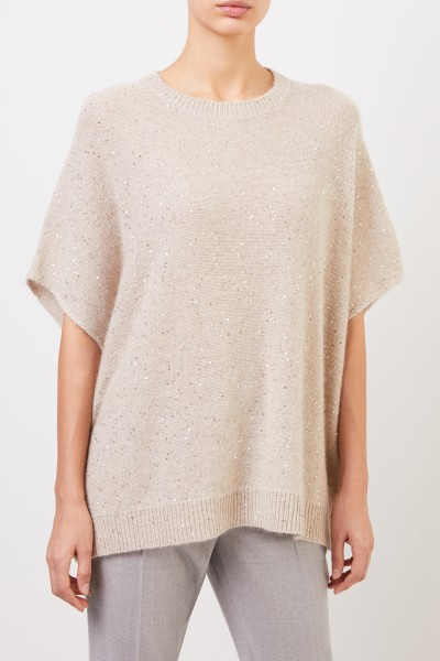 Fabiana Filippi Cashmere pullover with sequin details Beige