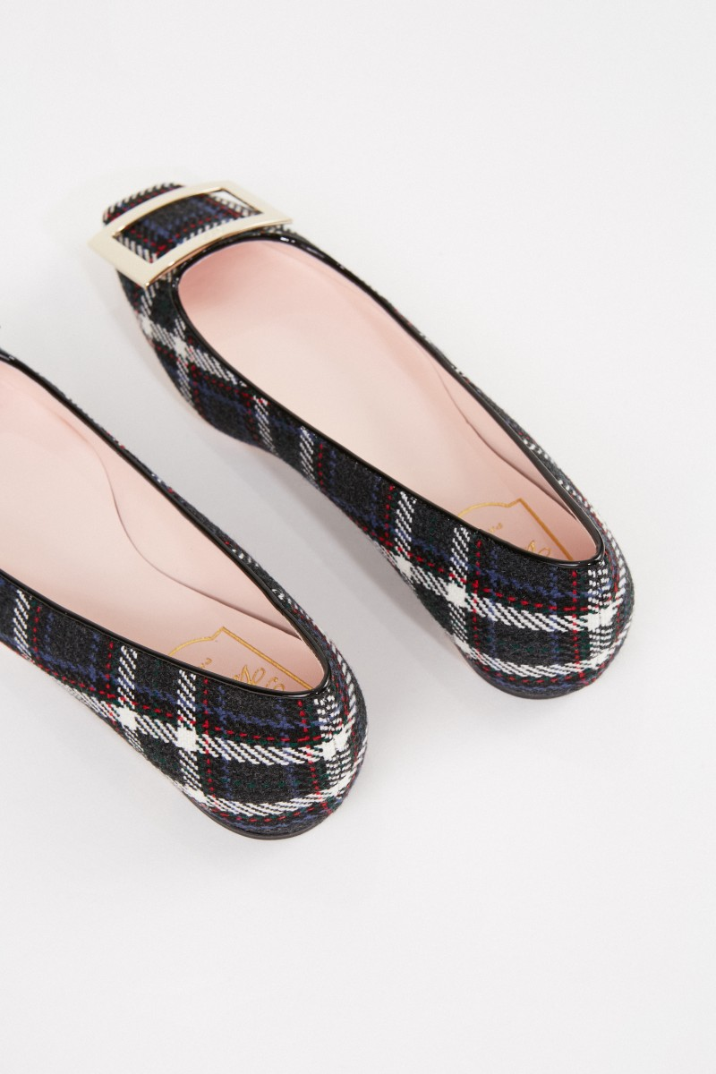 Roger Vivier Ballerina 'Trumpet Piping' with check pattern Multi