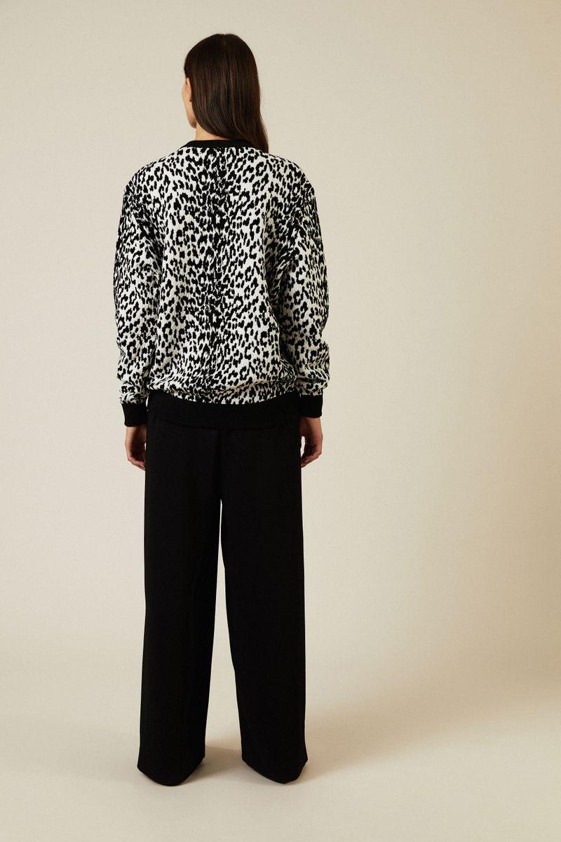 Pullover mit Leo-Muster Schwarz/Weiß