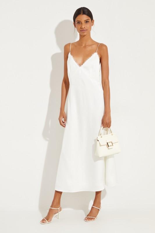 Seidenkleid 'Hawi' mit Schlitz Weiß