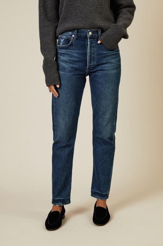 High Rise Straight Jeans 'Charlotte' Blau