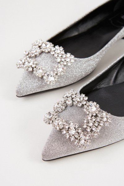 Roger Vivier Flats 'Flower Strass' with decorated buckle Silver