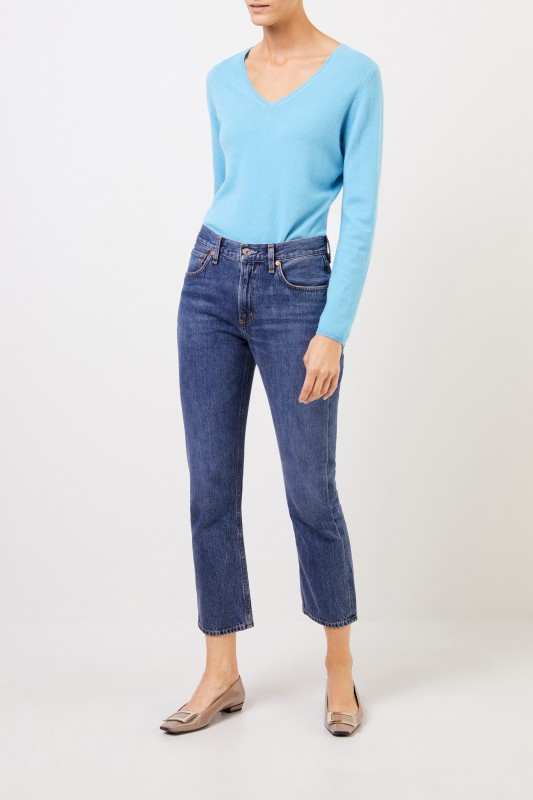 Uzwei Cashmere-Pullover mit V-Neck Hellblau