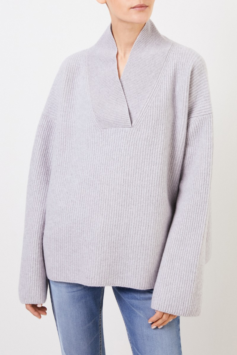 Brock Collection Woll-Cashmere-Pulllover mit V-Neck Hellgrau