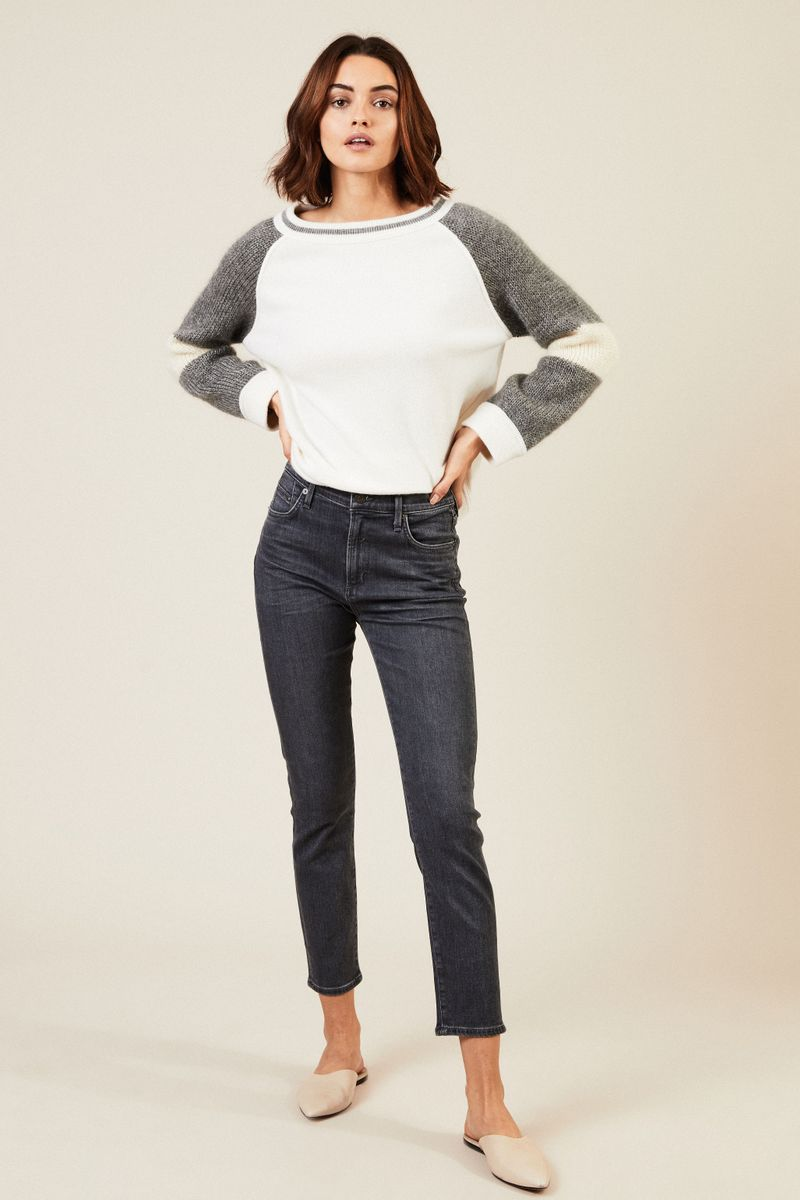 High Rise Skinny Jeans 'Rocket Cropped' Grau