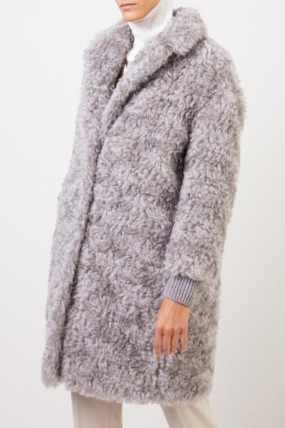 Fabiana Filippi Mohair cashmere coat with knit details Grey