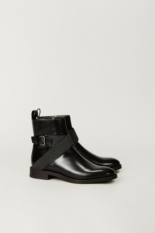 Leder-Boots mit Schmuckschließe