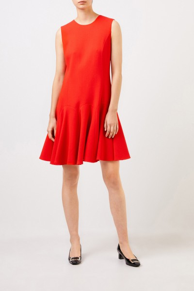 Flared wool dress Red