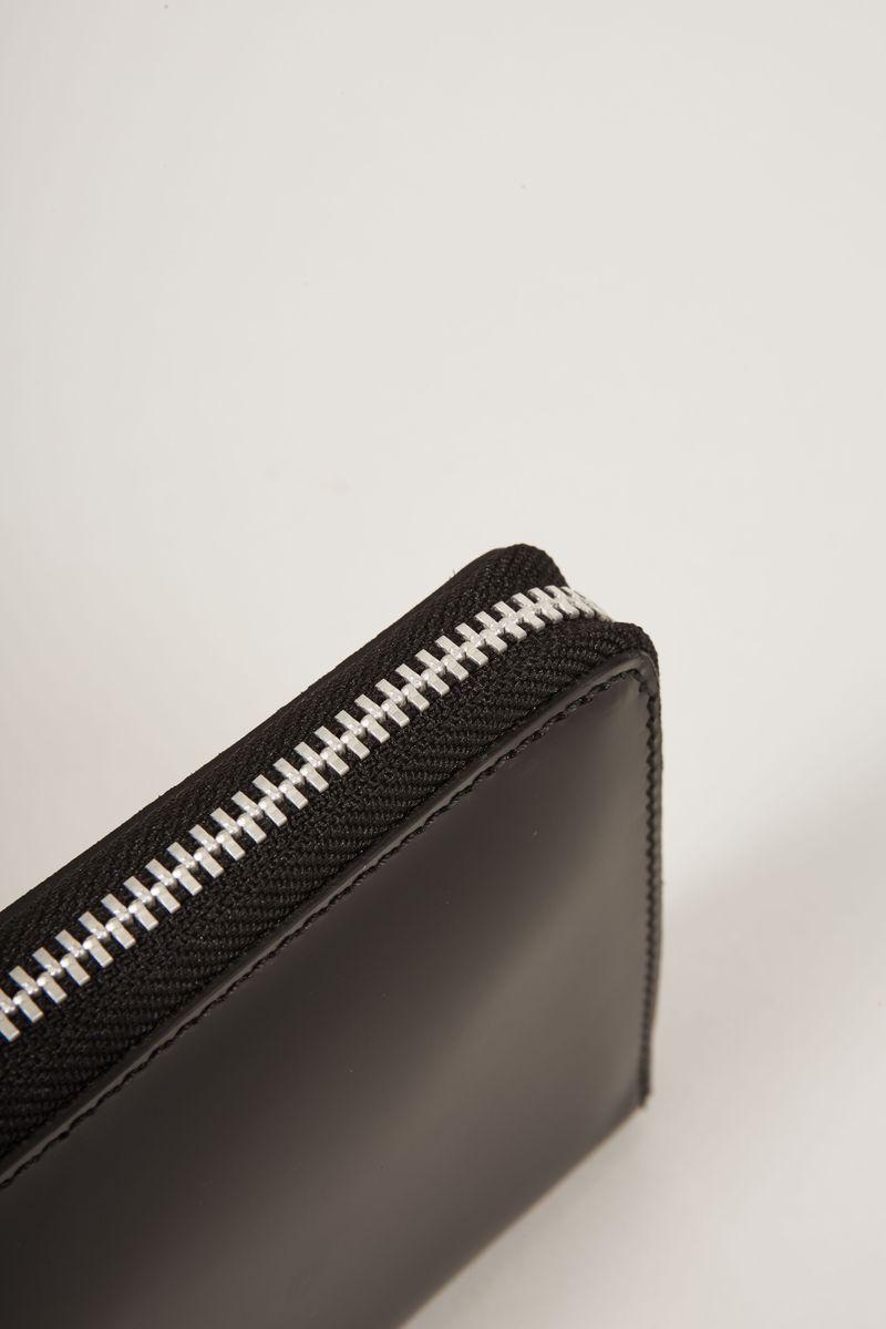 Portemonnaie aus Lackleder Schwarz