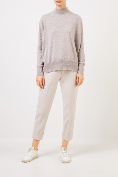 Cashmere Sweater with Turtleneck Taupe Melange