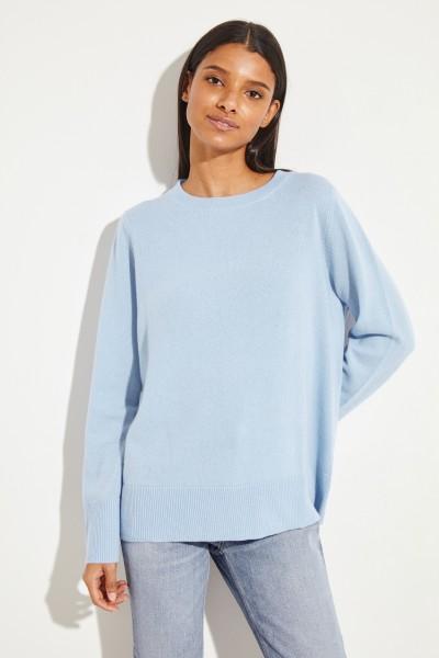 Cashmere-Pullover mit O-Neck Blau
