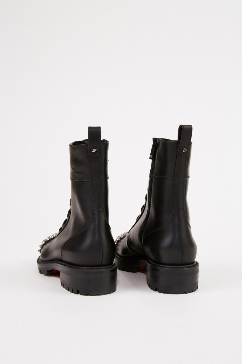 Christian Louboutin Leder-Boots mit Nietenkappe Schwarz