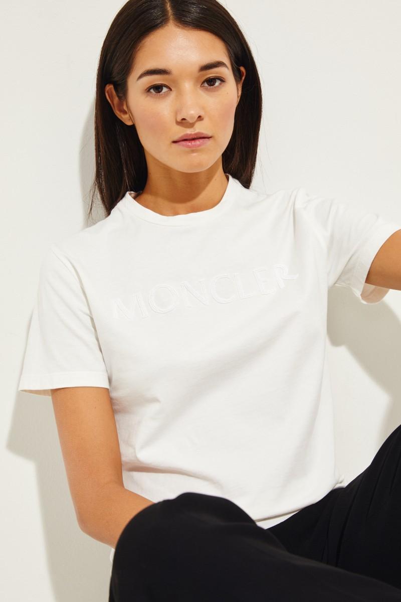 Moncler T-Shirt mit frontalen Perlen-Details Weiß