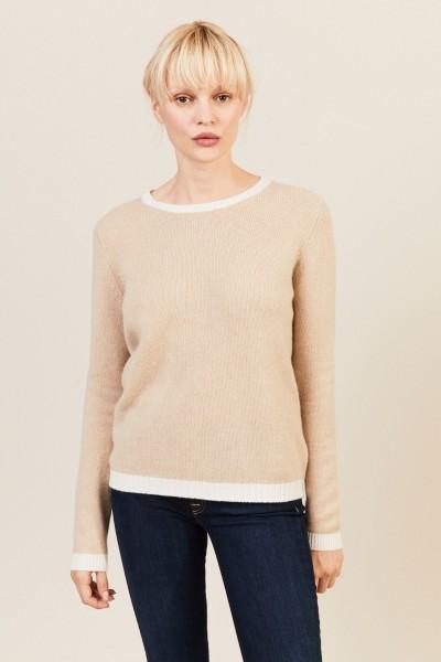 O-Neck Cashmere-Pullover Beige