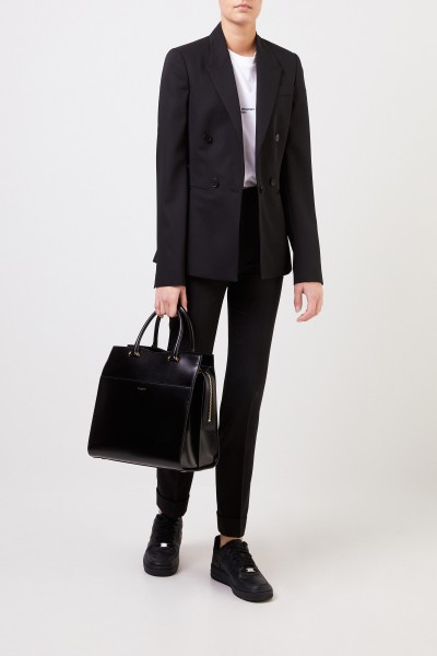 Wool blazer with quilted seam Black