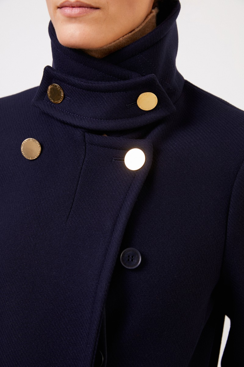 Stella McCartney Langer Woll-Mantel Blau