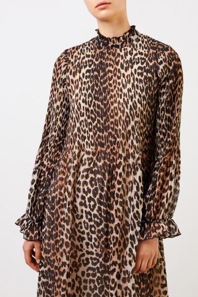 Ganni Kleid mit Leoprint Multi