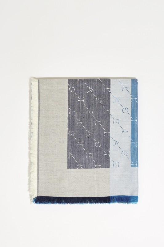 Seiden-Woll-Schal mit Fransen Blau