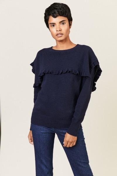 Pullover mit Rüschen Blau