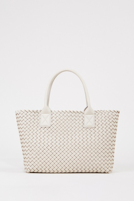 Geflochtener Leder-Shopper Weiß