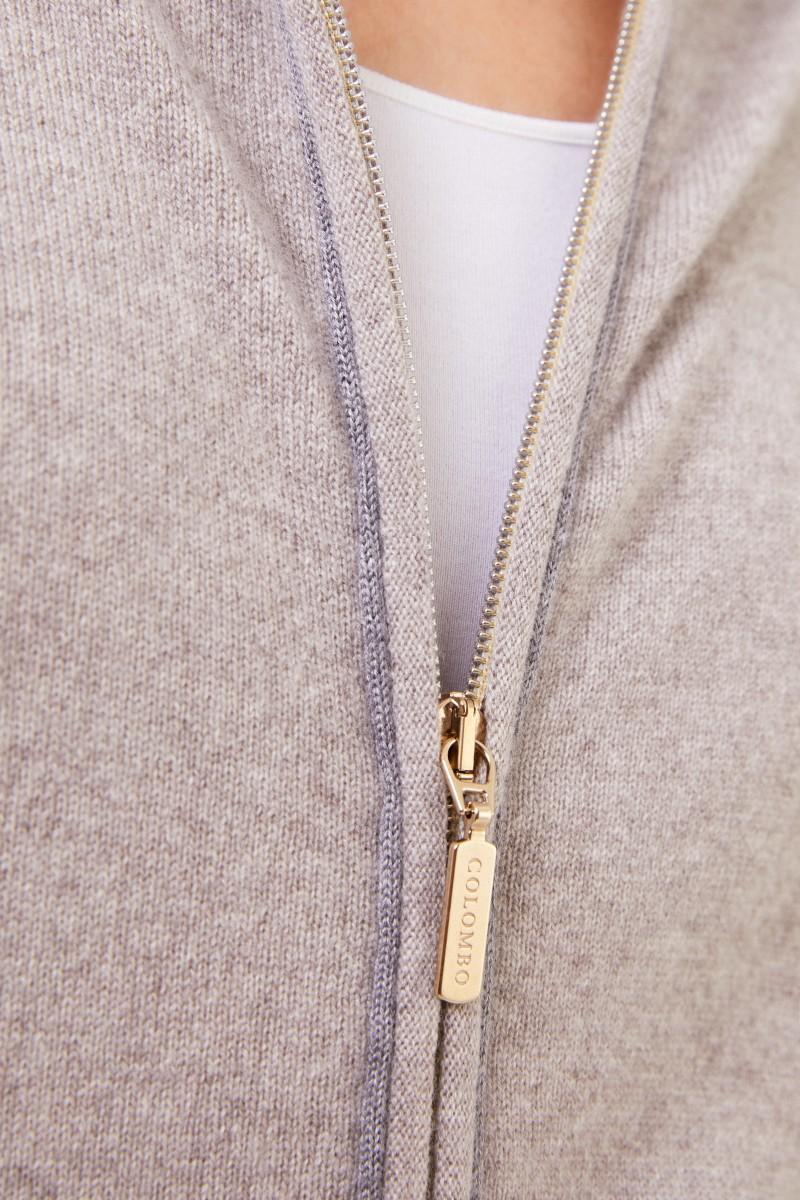Cashmere-Sweatjacke mit Kapuze Grau