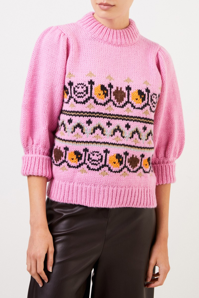 Ganni Handstrick Woll-Alpaca-Pullover mit Muster Pink/Multi
